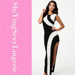 Black white patchwork Flirty Monochrome Maxi cheap Dress party dress Free shipping long fomal new arrival dress