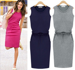 Cheap Summer Woman Clothes 2015 Europe Simple Style Round Neck Sleeveless Dress Straight Pencil Day Dresses Cotton Casual Ladies Dresses EF