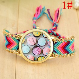 Wholesale 100pcs women ladies fashion weave watch rope handmade flower ice cream design bracelet quartz summer dress watches