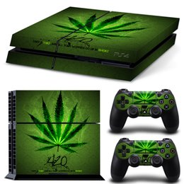 Wholesale Hot Selling Green leaf Vinyl Skin for Gaming Console and Free Controller Sticker Decal for PS4 TN