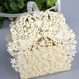 European-style Wedding Favor Butterfly Flower Hollow Square Candy Chocolate Box Paper Gift Bags For Party Supplies