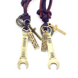 Wrench Adjustable Leather Necklace Metal Pendant Charms Male Punk Rock Hiphop Decorations Amulet Fashion Jewelry 10Pcs