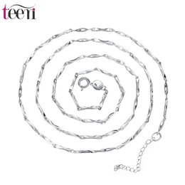 Wholesale Teemi Brand Jewelry Supplier Simple Sterling Silver Necklace with Bamboo Chains Girl Gift Charms Vintage Wedding Choker for Women Bridal