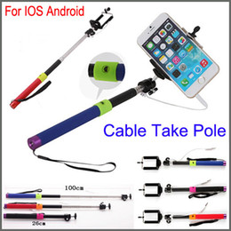 Wholesale Wired Extendable Selfie Stick Monopod mm Audio Cable Take Pole Self timer Handheld Controller For iPhone s s Samsung galaxy S5 NOTE