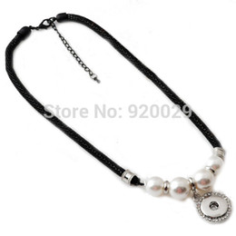 Wholesale G00102 black chian with imitation pearl snap button pendant necklace