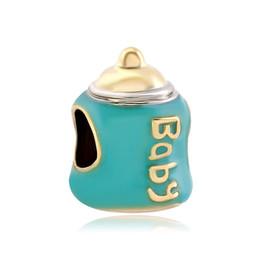Wholesale and Retail Gold Plating Enamel Green Pink Baby Milk Bottle European Charm Fit Pandora Bracelet