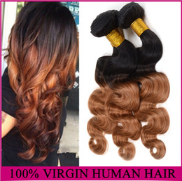 "Wholesale - 16""-26"" Ombre Brazilian Hair 6a Ombre Body Wave 1B#30 3pcs lot Remy human Hair Weave"