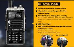 Promotion deux radios bidirectionnelles vente Gros-2015 VENTE CHAUDE récente version 8W 4800mAh Baofeng BF-UVB2 plus Talkie Walkie Dual Band Portable Two-Way Radio UVB2 plus
