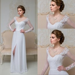 Vintage Style A Line V Neck Floor Length White Chiffon Wedding Dresses With High Split Appliques Lace Long Sleeve Bridal Gowns