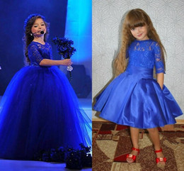 Royal Blue Half Lace Sleeves Girls Pageant Dresses 2016 Stain Knee Length Flower Girls Dresses with Detachable Tulle Skirt