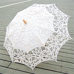 Wholesale 2015 Hot Selling Wedding Parasol White Ivory Sun Umbrella Vintage Battenburg Lace Vintage Bridal Accessories Handmade Diameter cm New