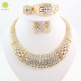 Jewelry Sets For Women Crystal CZ Diamond Wedding Gold Plated Bridal Accessories Necklace Bracelet Earrings Rings Set