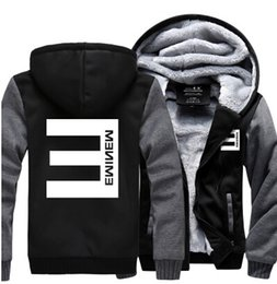 New Winter Warm Cotton Fleece Eminem Hoodie Fashion Thick Zipper Men's cardigan Jackets and Coats 16 Styles
