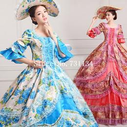 Wholesale 2016 Elegant Vintage Print Dance Dress th Century Marie Antoinette Dress Ball Gown Reenactment Theatre Clothing Medieval Renaissan Costume