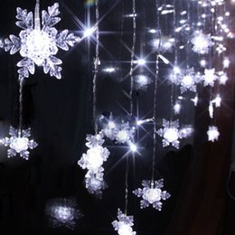 Wholesale M LED P Snowflake Curtain String Lights Ice Bar Strip Holiday Christmas Wedding Xmas Decor V V US EU UK AU Plug