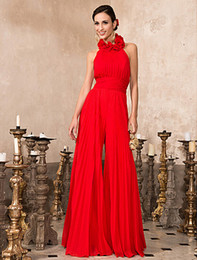 High Neck Floor-length Chiffon Pantsuit Formal Evening Prom Dresses