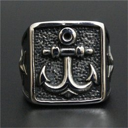 1pc New Design Hook Anchor Ring 316L Stainless Steel Man Boy Fashion Band Party Ring