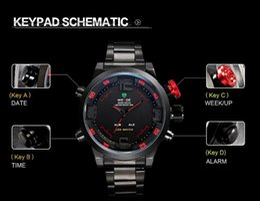 New Weide Watch military Men Sport Watches quartz wristwatches Men Watch Analog LED Display Stainless Steel Men Wristwatch