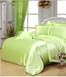 Yellow green satin Silk bedding set super king size queen full double quilt duvet cover fitted bed sheets bedspreads lime 6pcs