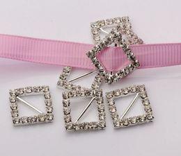 Hot ! 50Pcs 12mm Bar Silver Plate A Grade Crystal Rhinestone Ribbon Buckle Slider Invitation Wedding Supplies 19.5 mm.