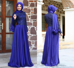 Royal Blue Prom Dresses With Long Sleeve Sexy Lace Floor Length Muslim Weddings Dresses Dubai Kaftan Arabic Party Evening Gowns Chiffon