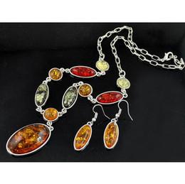 Wholesale Fashion Amber Oval Pendant Necklace earrings jewerly set women Wedding jewelry sets dangle earrings pendant jewelry Sets S0005