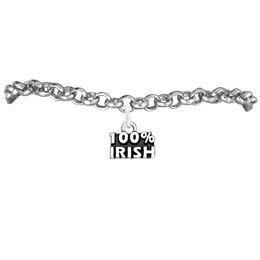 Hot Sale 100% Irish Rolo Charm Chain Bracelets 100pcs A lot Link Chain Antique Silver Plated