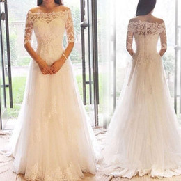 2019 bateau lace new design fashion floor length wedding dresses hollow back winter new collection bridal gowns