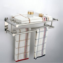 Wholesale New Details about Double Chrome Wall Mounted Bathroom Towel Rail Holder Storage Rack Shelf Bar