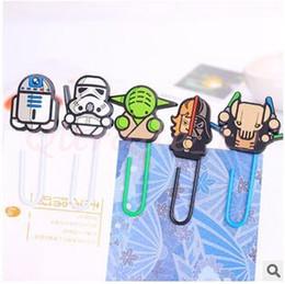 Wholesale 100pcs arrivée de nouveaux LJJC2879 papier silicone Cartoon Star Wars clip Black Knight Darth Vader Yoda Favoris décoratif remplissage Trombone