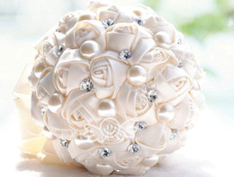 Hot Sale Purple Ivory Slik Rose Flower Wedding Bridal Bouquets with Pearls Big Size Diameter 20CM Wedding Bouquet Holding Free Shipping New