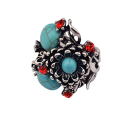 Fashion Accessories Retro Vintage Silver Plated Rhinestone Ring Big Metal Flower Women Turquoise Resizable Finger Rings