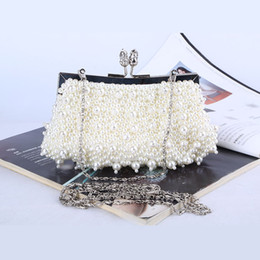 Wholesale Factory brand new handmade chic beaded evening bag clutch with satin for wedding banquet party porm