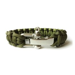 Wholesale-Selfrescue ParaCord Survival Bracelet Weave Handmade 7-Stand Stainless Steel Shackle Buckle Outdoor Camping Hiking Survival Kits