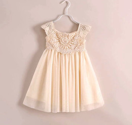 Free UPS Fedex Ship 2016 Girls summer models girls hight quality princess lace flower dress children dress veil lace crochet