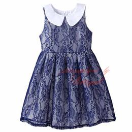 Pettigirl New Arrivals Girls Lace Dress Navy Kids Floral A-Line Vest Dress Wholesale Child Clothing DMGD81207-22L