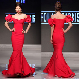 Sexy Red Mermaid Evening Dresses Off Shoulder Sleeveless Mnm Couture Prom Dress Floor Length Evening Gowns With Ruffle