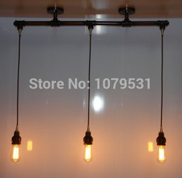 Vintage Loft Chandelier 3 Light Industrial Water Pipe Tube Edison Bulbs Pendant Lamp For Dining,Bar Free Shipping