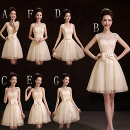 2019 New Lace Tulle Ball Gown Bridesmaid Dress With Bow Short Champagne Party Dress Fast Shipping