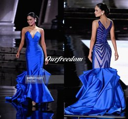 2019 Royal Blue Satin Sheer Jewel Neck Evening Dresses Illusion Back With Beaded Ruffles Mermaid Formal Pageant Prom Party Gown Custom Made