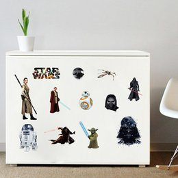 Wholesale Star wars character figure wall stickers Darth Vader Robot bb8 Kyloren rey children bedroom Removable wallpaper home Decal decorative best