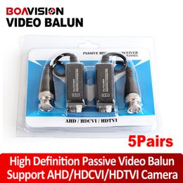 Wholesale 5Pairs High Definition P P AHD HDCVI HDTVI BNC To UTP Cat5 e Video Balun Passive Transceivers Adapter Transmitter m