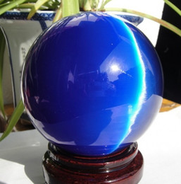 Wholesale 40MM STAND Sell ASIAN QUARTZ DEEP BLUE CAT EYE CRYSTAL BALL SPHERE