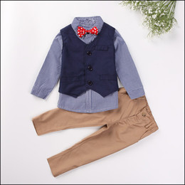 Wholesale 2015 HOT Academic style boys gentleman suits Y Kids Autumn Outfits long sleeve shirt vest pants MOQ sets SVS0521