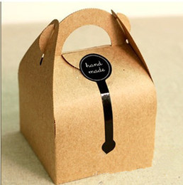 Wholesale DIY Gift Kraft Paper Handled Cake Boxes Bakery Packaging For Wedding, Festival Party Supplies, 10*10*14.5cm
