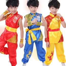 Wholesale Hot Sale Embroidery Dragon Children Performance Clothing Chinese Traditional Style Kung fu Clothing Suits UA0126 smileseller