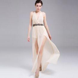 Sexy Beads Evening Gowns A Line Halter Floor Length Chiffon Sequins Draping Splits Runway Dress W5662