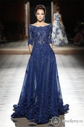 Wholesale Elie Saab Dresses Party Evening Gowns Sleeves Scoop Appliques Prom Dresses Nave Blue Celebrity Formal Dresses Evening Wear