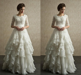 Modern 2016 Spring Lace A Line Wedding Dresses Scoop Neck Half Sleeves Applique Beads Plus Size Sweep Train Ruffles Tiered Cheap Bridal Gown