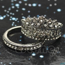 Wholesale-Women Silver Plated White Sapphire Gem Crown Wedding Band Ring Set Size 5-8-J117